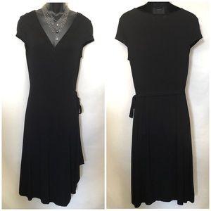 BCBGMaxAzria Cap Sleeve Wrap Dress Black Size L
